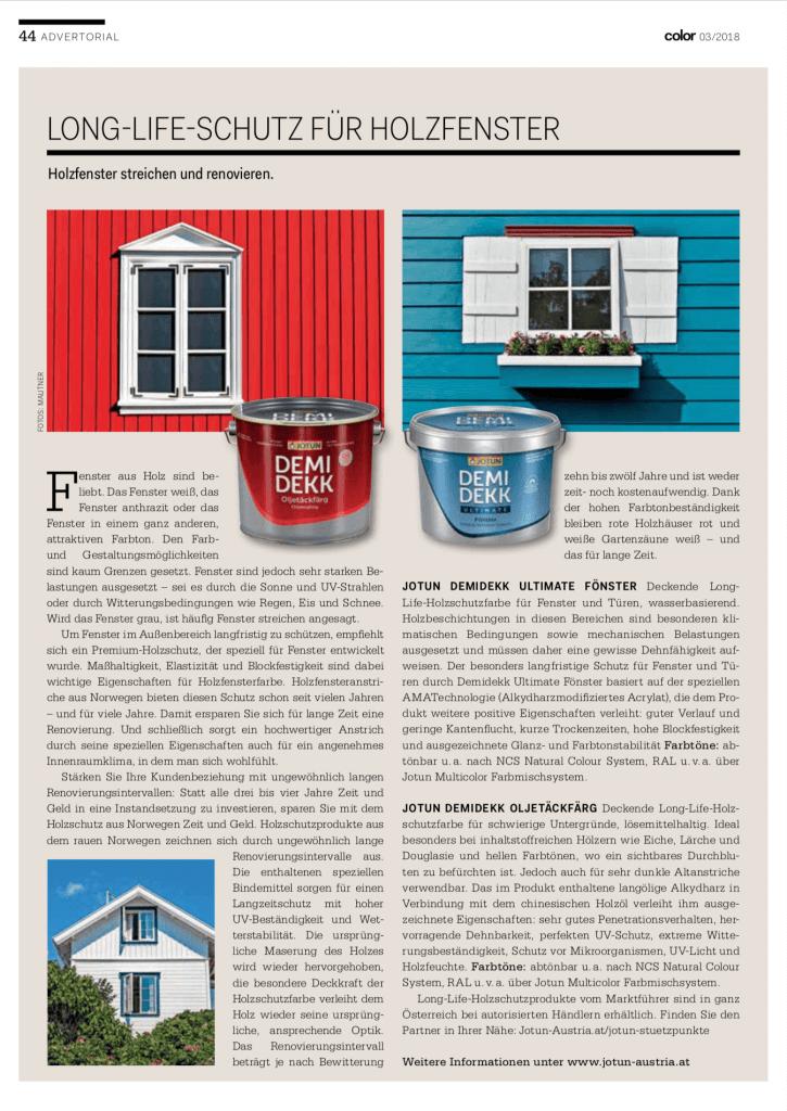 Presse-Bericht über Holzfensterfarbe mit Produkten von JOTUN